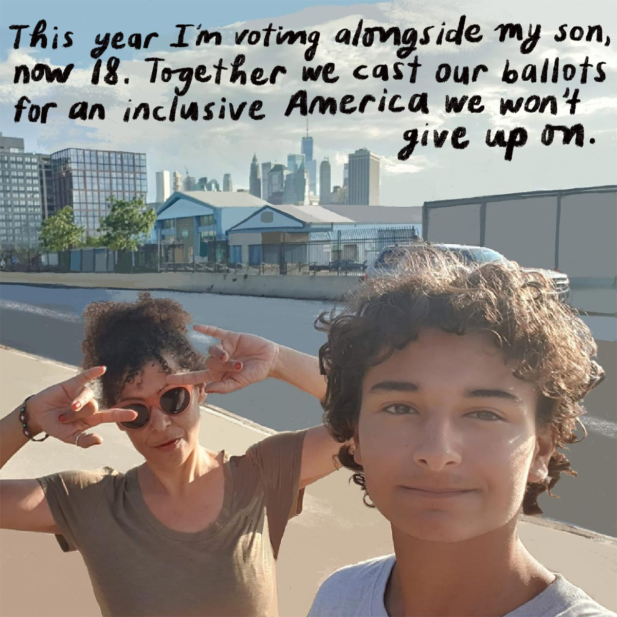 Mariane Pearl with her son, Adam