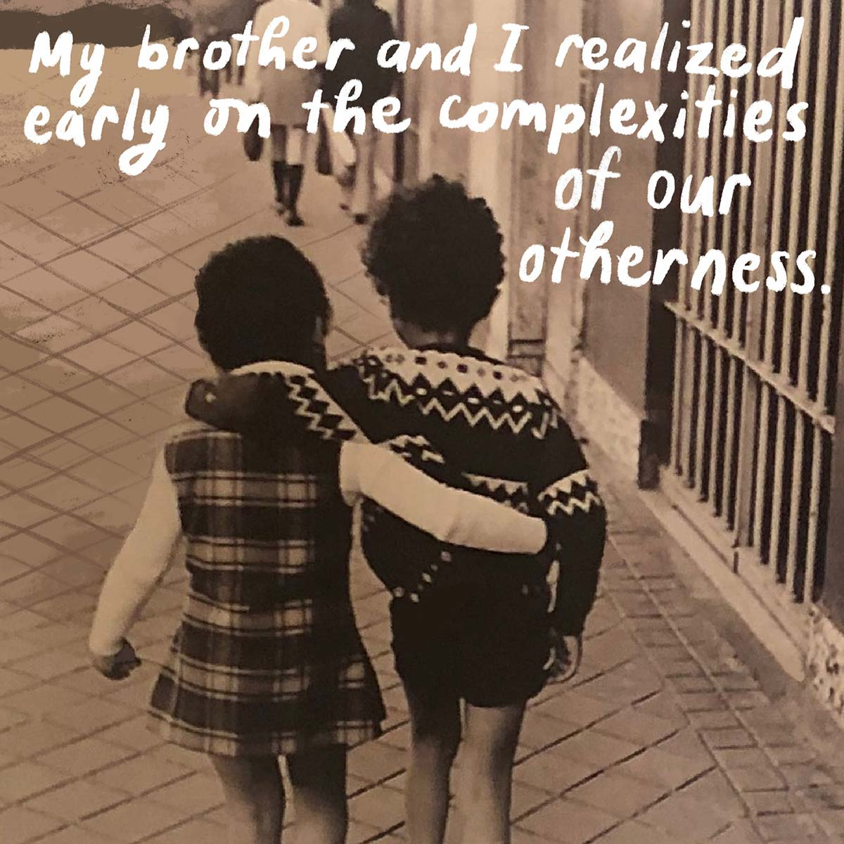 Mariane Pearl with her brother as children